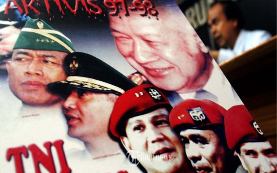 Prabowo on poster about abduction of activists in 1997-98 (Tribune)