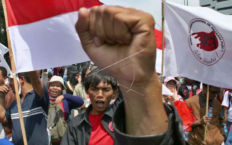 Protest in Jakarta against privatisation of state-owned industries (Antara)