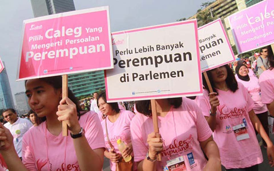 Women rally in Jakarta calling for more women in parliament (Tempo)