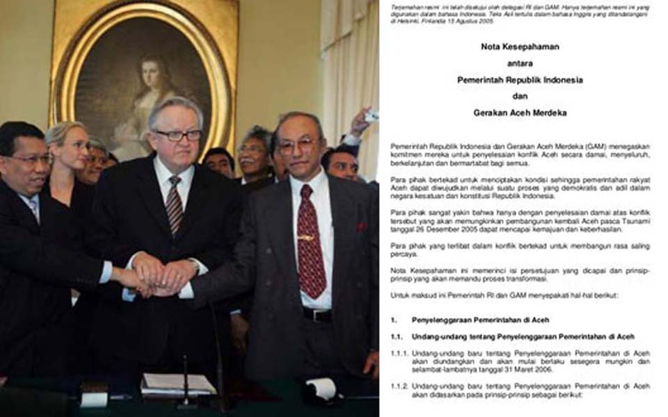 Signing of MoU between GAM and Jakarta in Helsinki (pewarisnusantara)