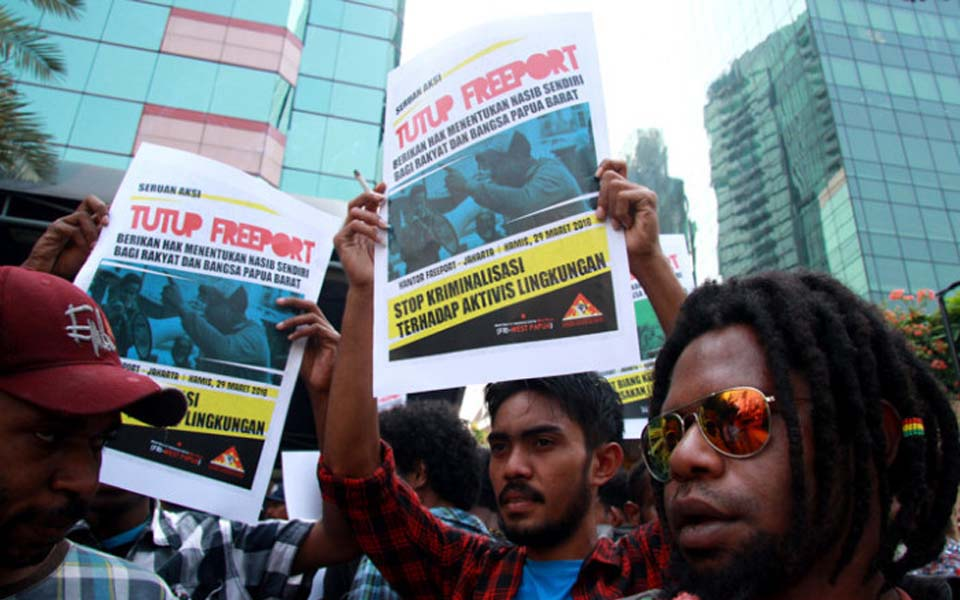 Students in Jakarta protest against Freeport (law-justice)