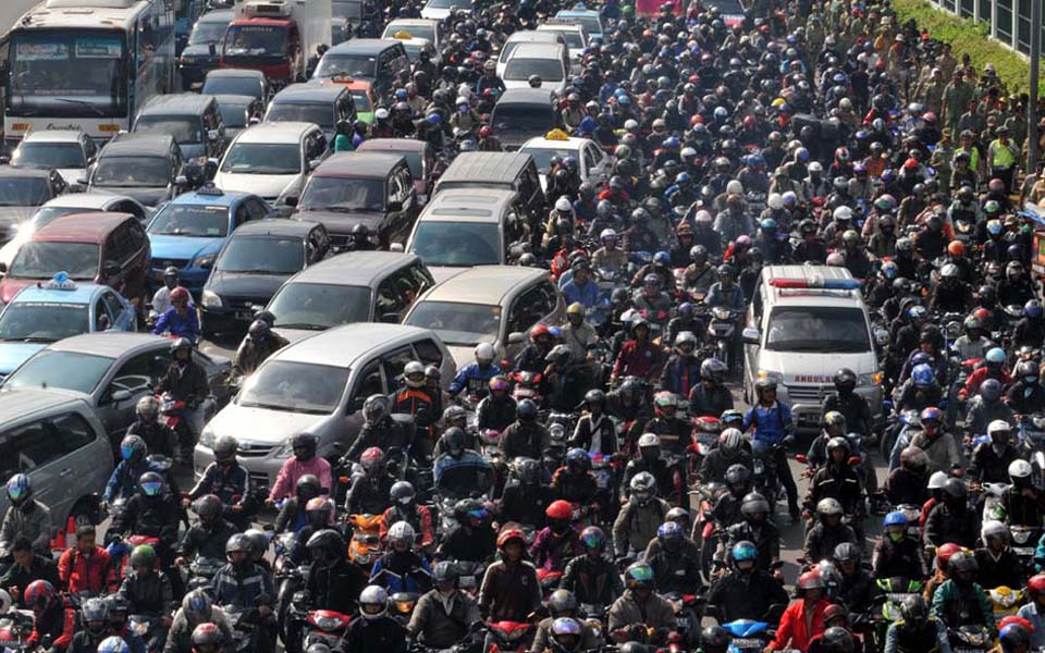 Congestion on M.H. Thamrin in Central Jakarta (infonawacita)