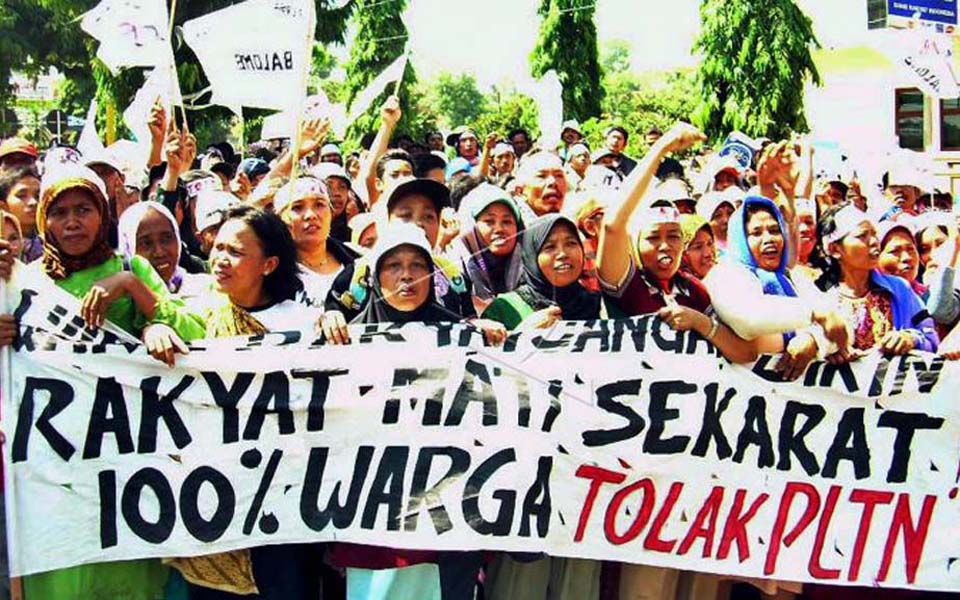Protest against construction of nuclear power plant in Muria (Antara)