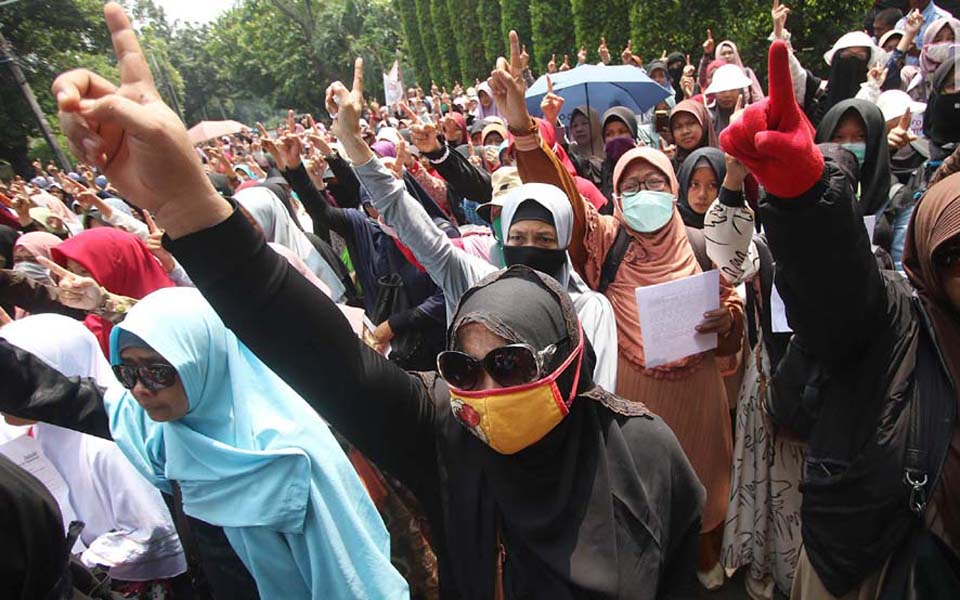 Protest outside Burmese Embassy in Jakarta (Liputan 6)