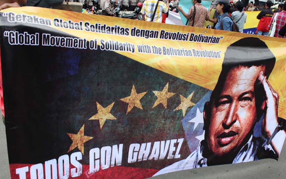 Solidarity action in support of Venezuela at Monas in Jakarta (PM)