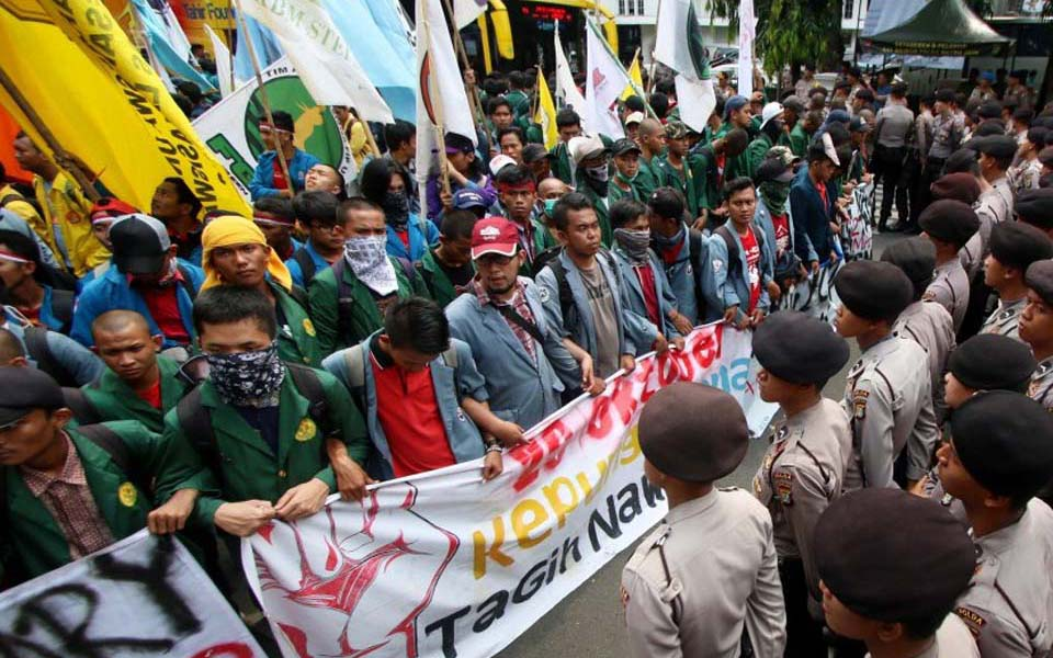 Student protest at National Monument in Jakarta (LMO)