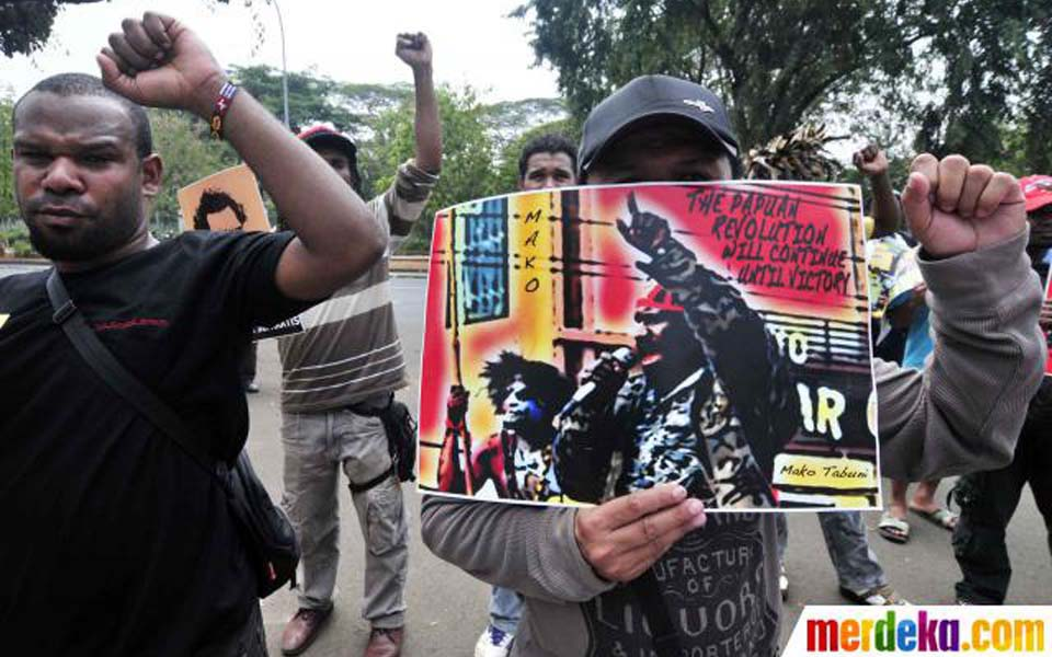 Protesters from Napas rally against New York Agreement at US Embassy - August 15, 2012 (Merdeka)