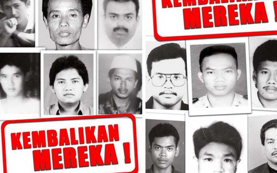 Pictures of missing activists abducted in 1998 (ELSAM)