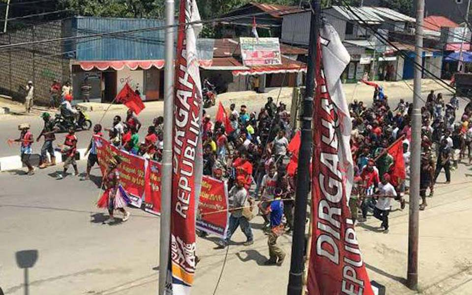 Papuans protest against New York agreement in Jayapura - August 15, 2015 (Sindo News)