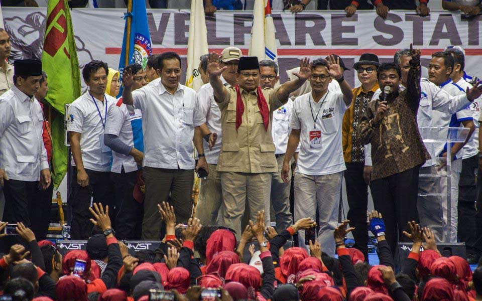 Prabowo and Said Iqbal at Senyan Sports Arena - May 1, 2018 (Antara)
