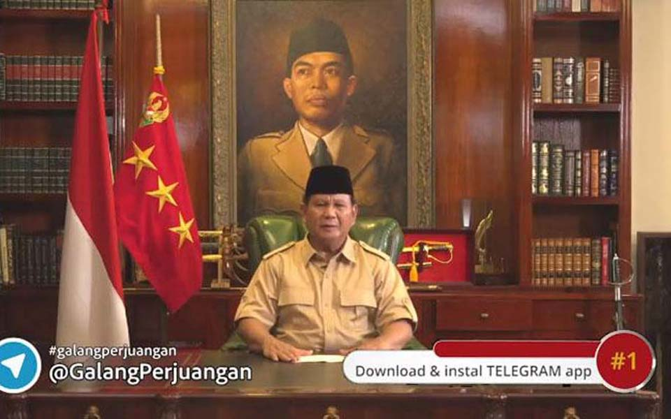 Prabowo appealing to public to donate to election campaign - June 21, 2018 (Tempo)