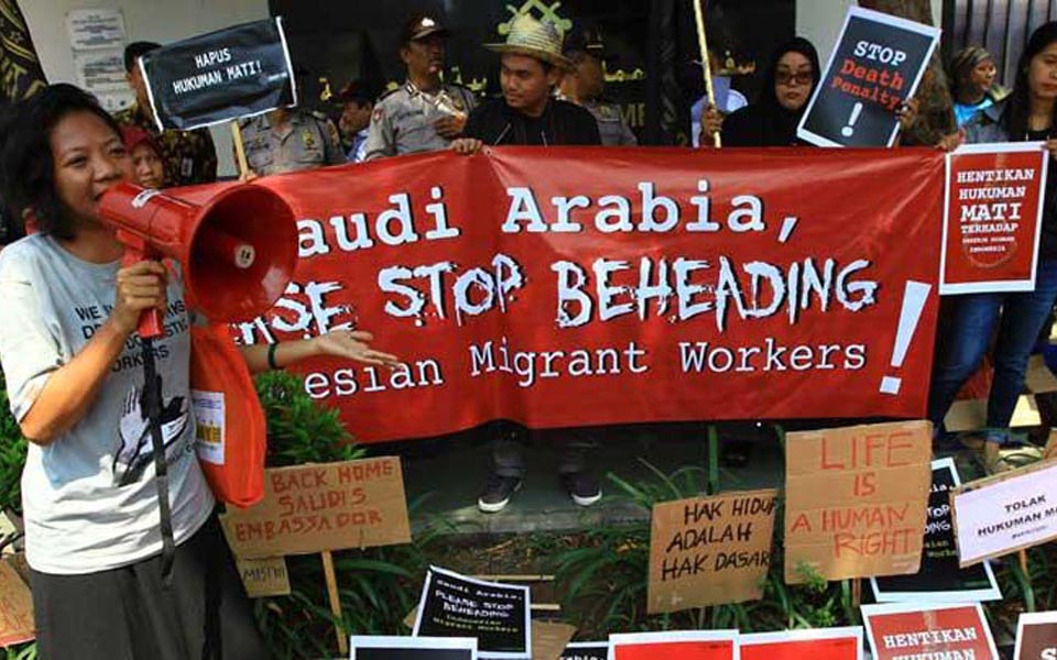 Rights activists demonstrate at Saudi Arabian Embassy - March 20, 2018 (Tempo)