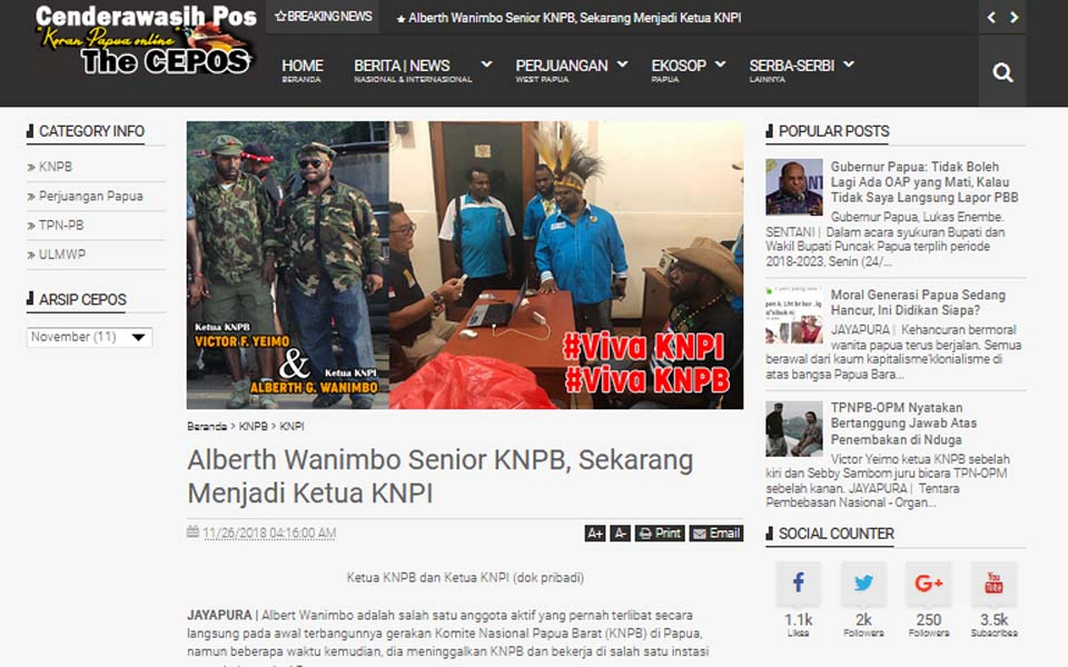 Screenshot of article 'Senior KNPB Member Alberth Wanimbo, Now KNPI'