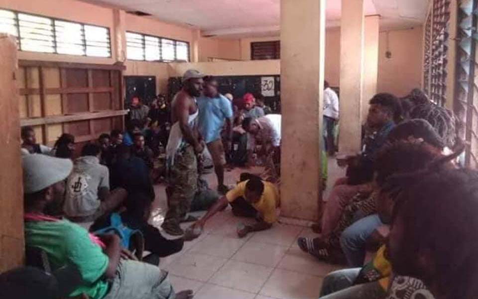 ULMWP protesters being held at Jayapura police station - September 24, 2018 (Jubi)