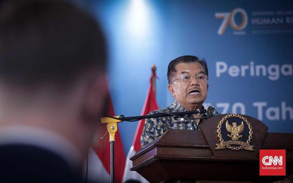 Vice President Jusuf Kalla giving greetings at Komnas HAM – December 11, 2018 (CNN)