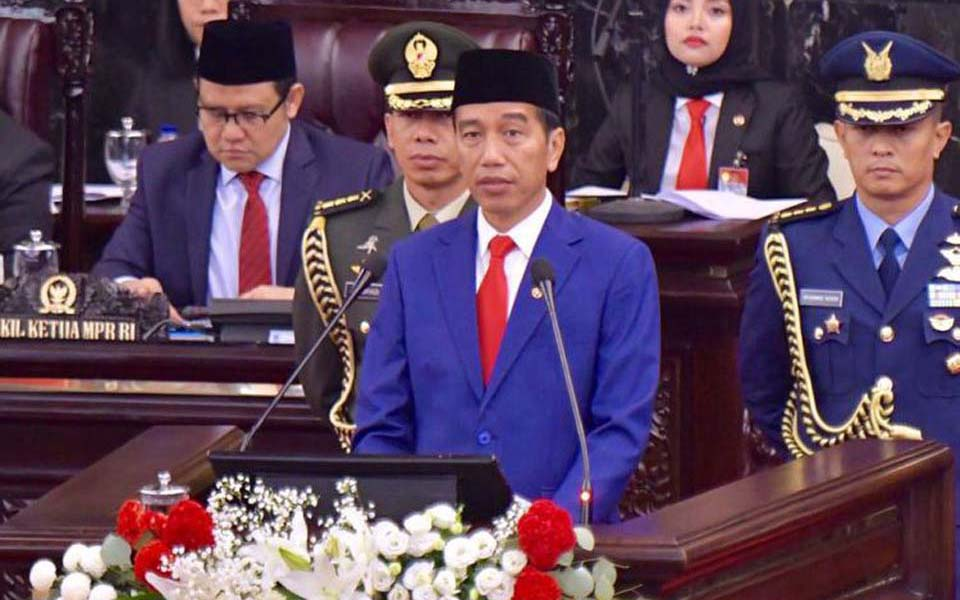 Widodo gives State of the Nation address at MPR - August 16, 2018 (Agus Suparto)