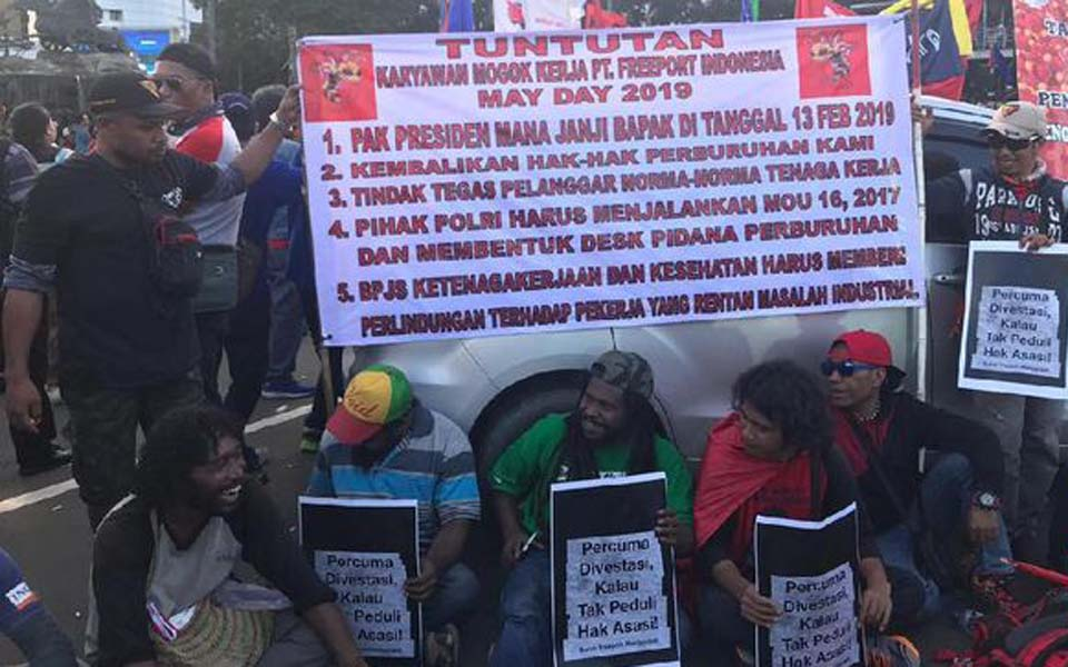 Sacked Freeport workers protest in Central Jakarta – May 1, 2019 (CNN)