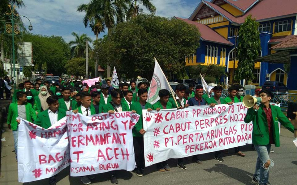 Students rally on May Day in Lhokseumawe – May 1, 2019 (Detik)