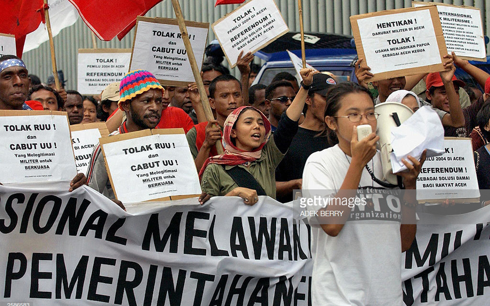 Protesters from Aceh and West Papua rally in Jakarta (Getty Images)