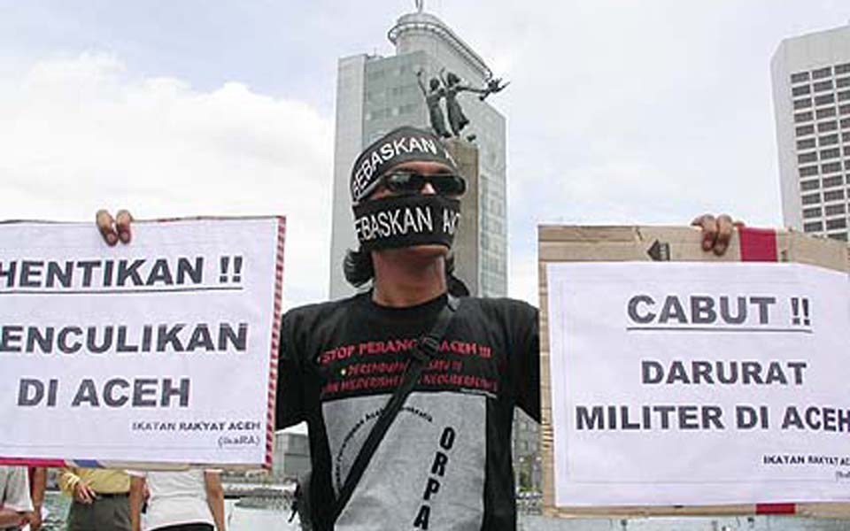 IKARA protest in Jakarta against martial law in Aceh (Detik)