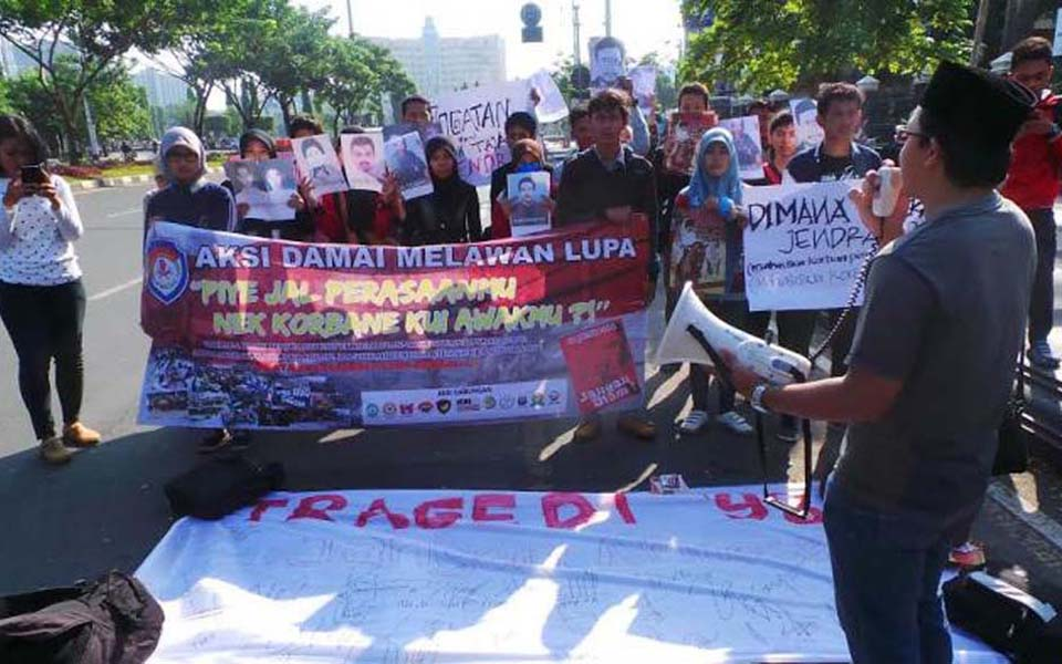 Protest in Semarang against presidential candidates from the military (Tribune)