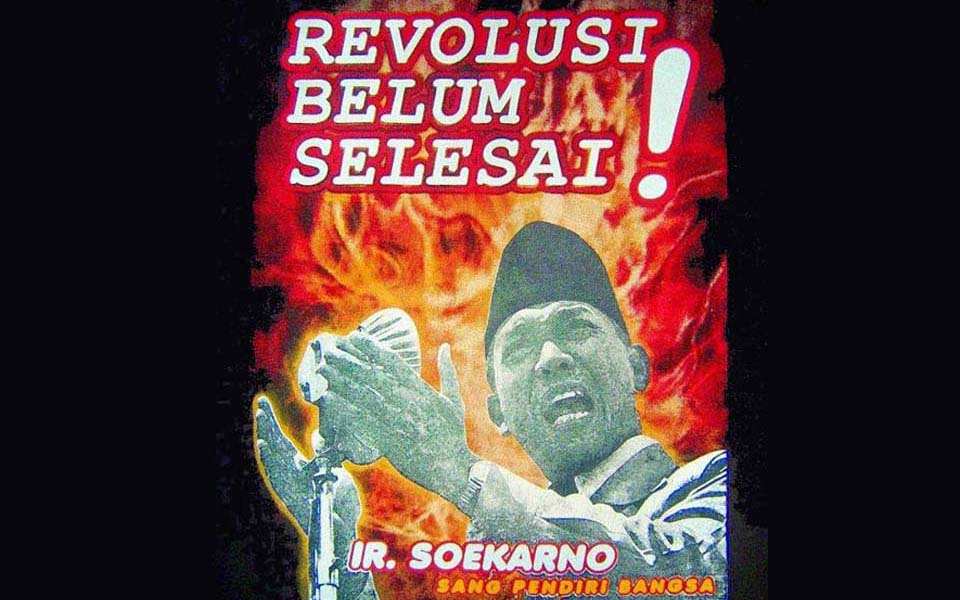 Cover of President Sukarno's book 'The revolution is not yet finished'