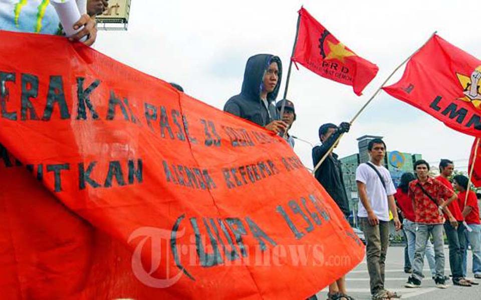 People's Democratic Party rally against electricity tariff hike in Jakarta (Tribune)