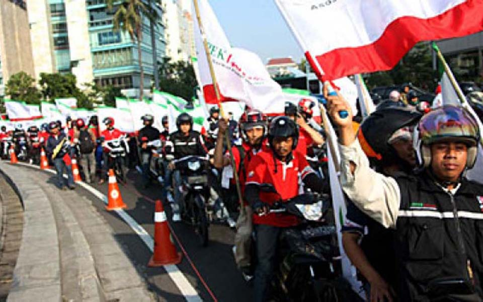 Workers Challenge Alliance rally in Central Jakarta (Tempo)