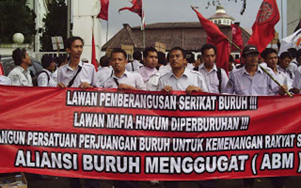Workers Challenge Alliance rally in Jakarta (Central SPKAJ)