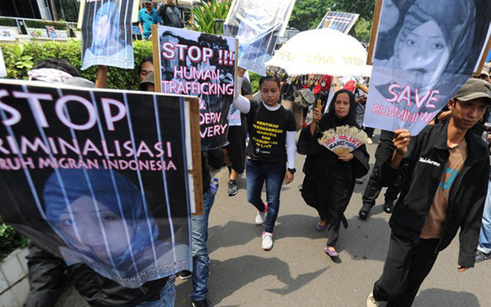 Indonesian Migrant Workers Trade Union protest (satuislam)