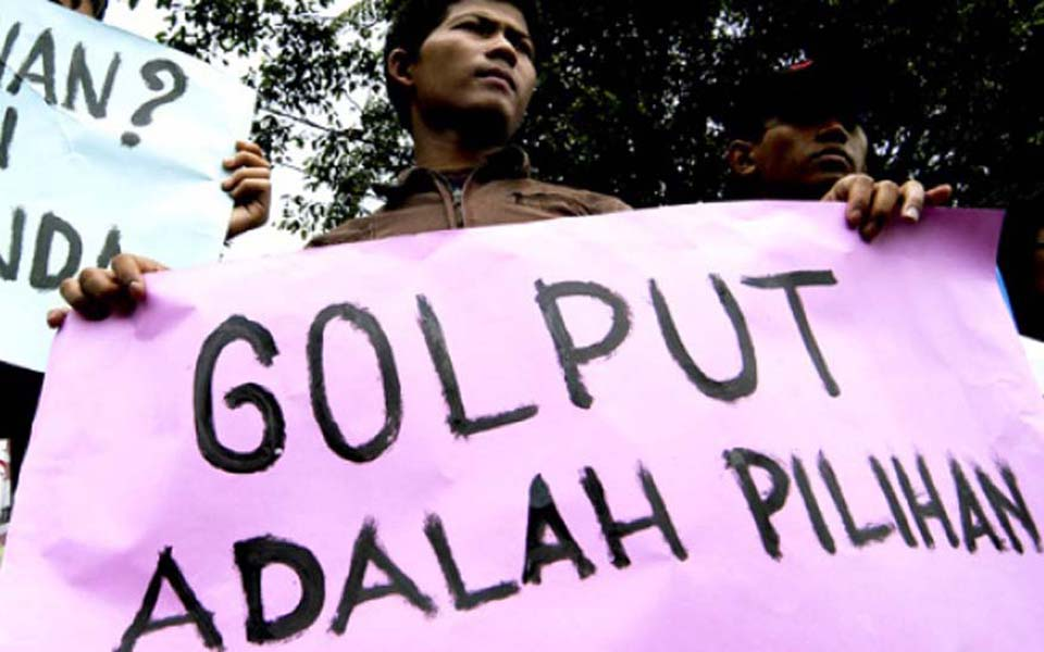 Placard reads 'Golput is my Choice' (Tempo)