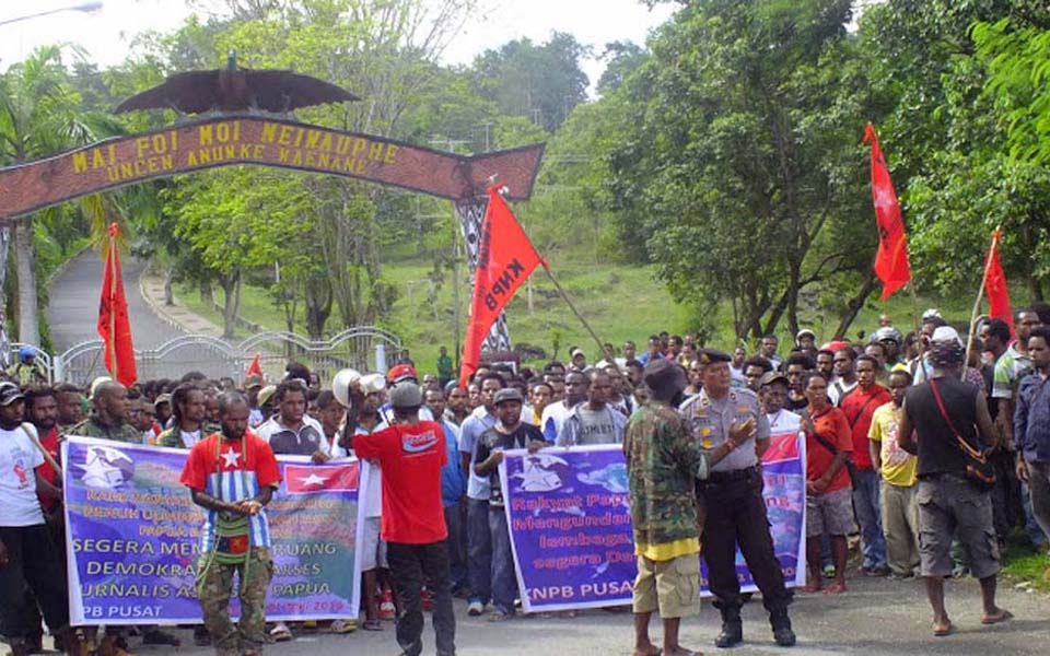 Protest action in Jayapura (knpbnewsstory)