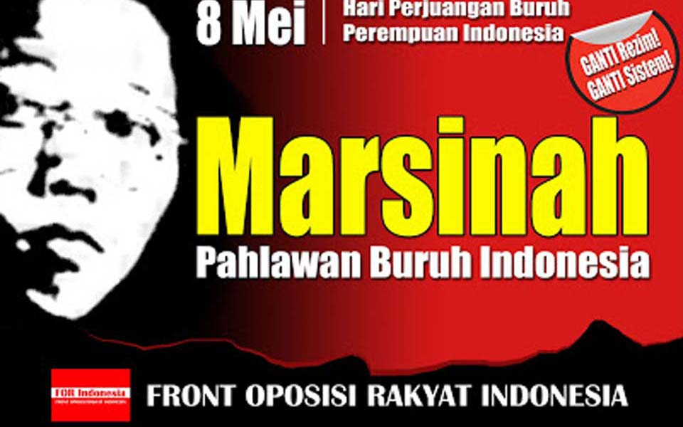 Poster reads 'Marsinah Indonesian Worker's Hero' (lenteradiatasbukit)