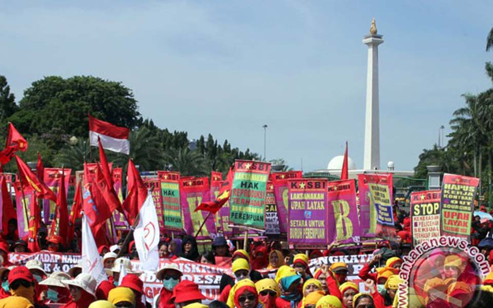Women activists commemorate IWD at National Monument (Antara)