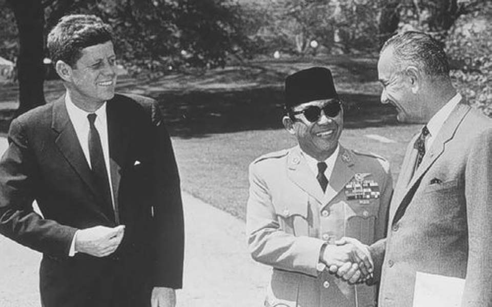 John F. Kennedy, Sukarno and Lyndon B. Johnson