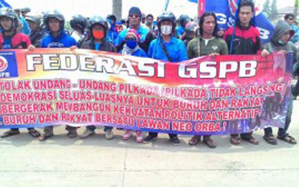 GSPB workers in Bekasi rally against new election law - October 14, 2014 (Ata Bu)