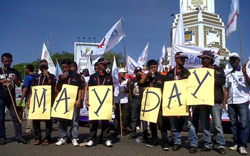 Workers commemorate May Day in Banda Aceh - May 1, 2014 (Yayasan Puleh Aceh)