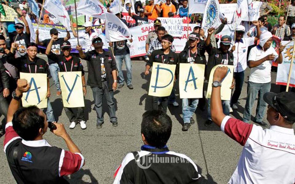 Acehnese workers commemorate May Day in Banda Aceh - May 1, 2015 (Tribune)