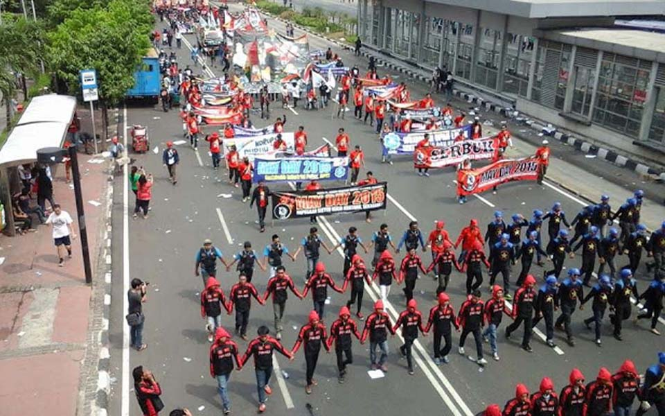 PPRI workers commemorate May Day in Jakarta - May 1, 2015 (ppriportal)