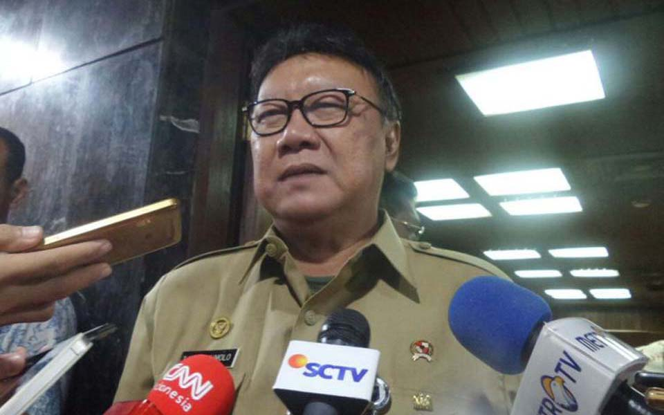 Tjahjo Kumolo speaking at DPR building - September 25, 2017 (Kompas)