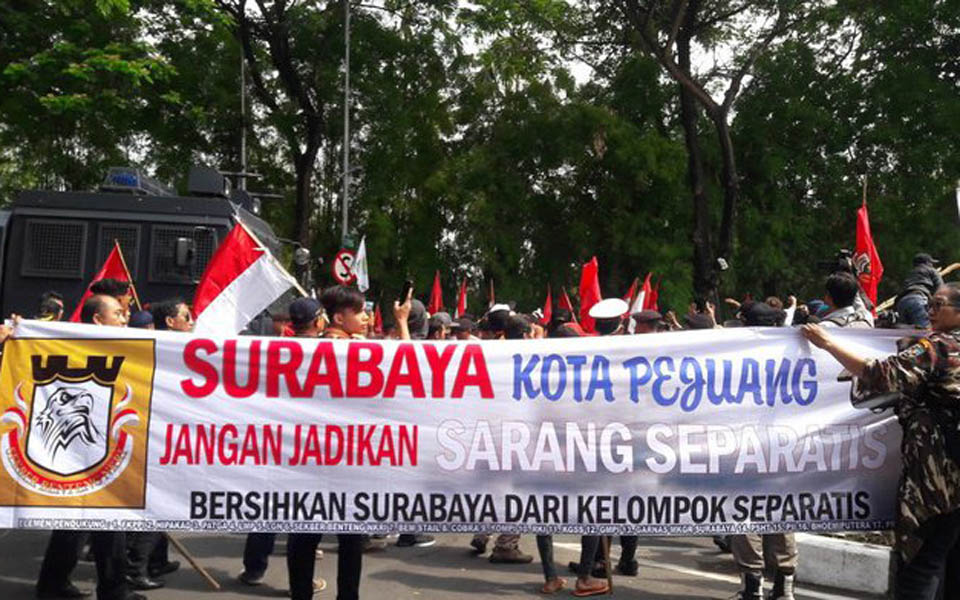 FKPPI protesters opposing pro-independence rally in Surabaya - December 1, 2018 (Tirto)