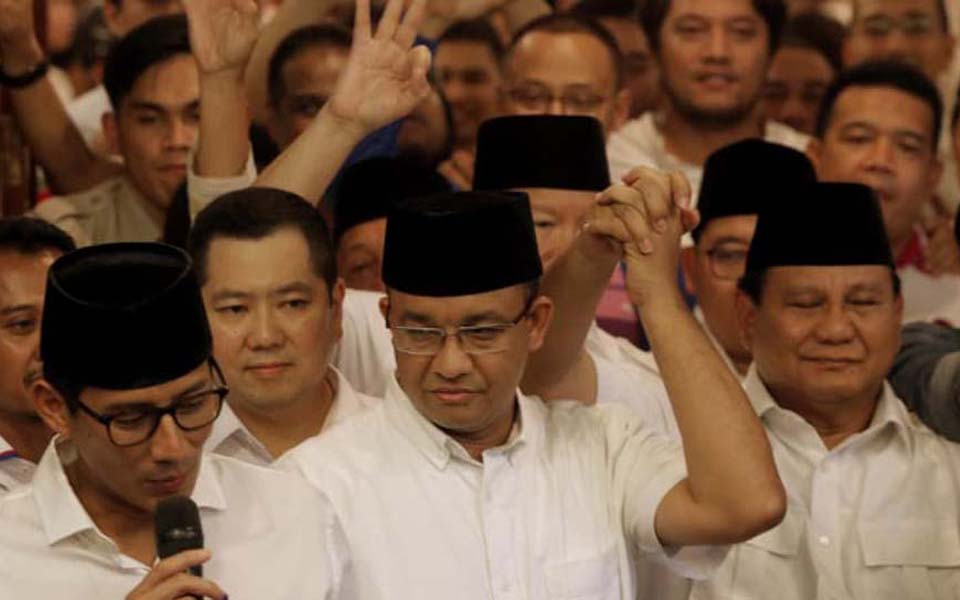 Jakarta Deputy Governor Sandiaga, Anies and Prabowo - Undated (Reuters)