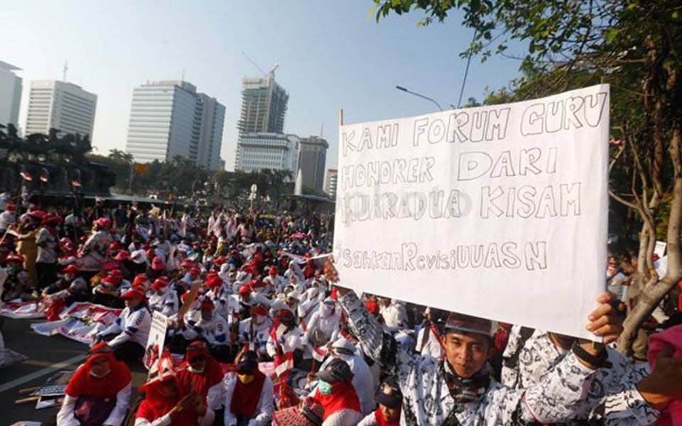 KPRI workers rally on May Day at Horse Statue in Jakarta - May 1, 2018 (Sindo)
