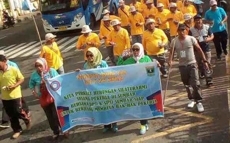 KSPSI workers commemorate May Day in Padang - May 1, 2018 (Kumparan)