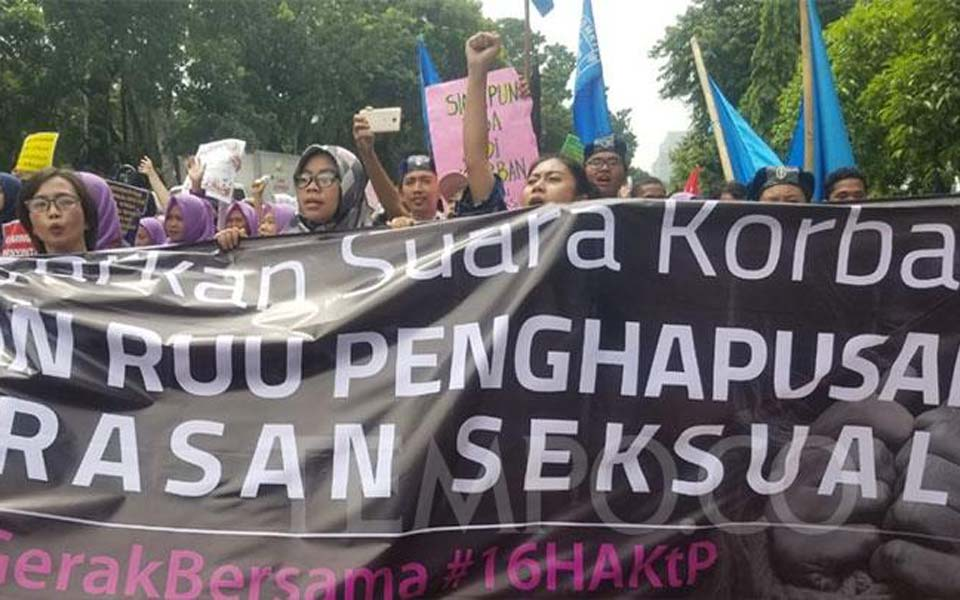 March calling for DPR to ratify sexual violence bill – December 8, 2018 (Tempo)