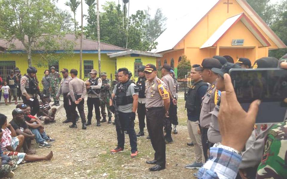 Police takeover of KNPB offices in Mimika – December 31, 2018 (Istimewa)