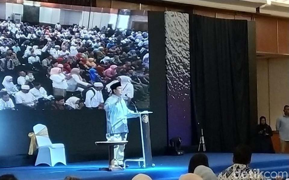 Prabowo speaking at Grand Sahid Hotel - December 5, 2018 (Detik)