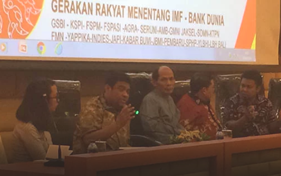 Said Iqbal speaking at People vs IMF discussion in Jakarta - September 28, 2018 (RMOL)