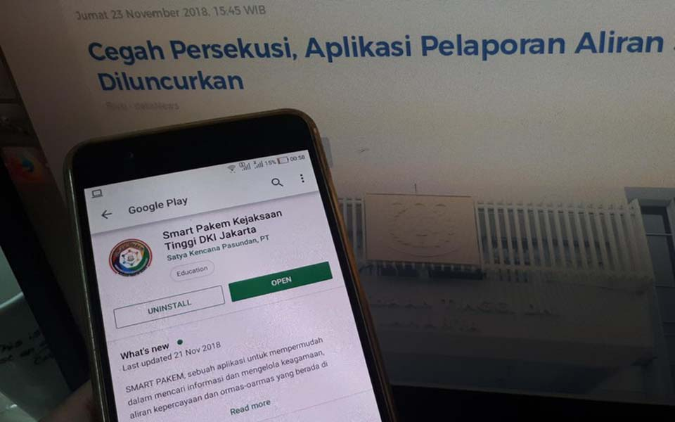 Smart Pakem 'deviant teachings' reporting app (Detik)