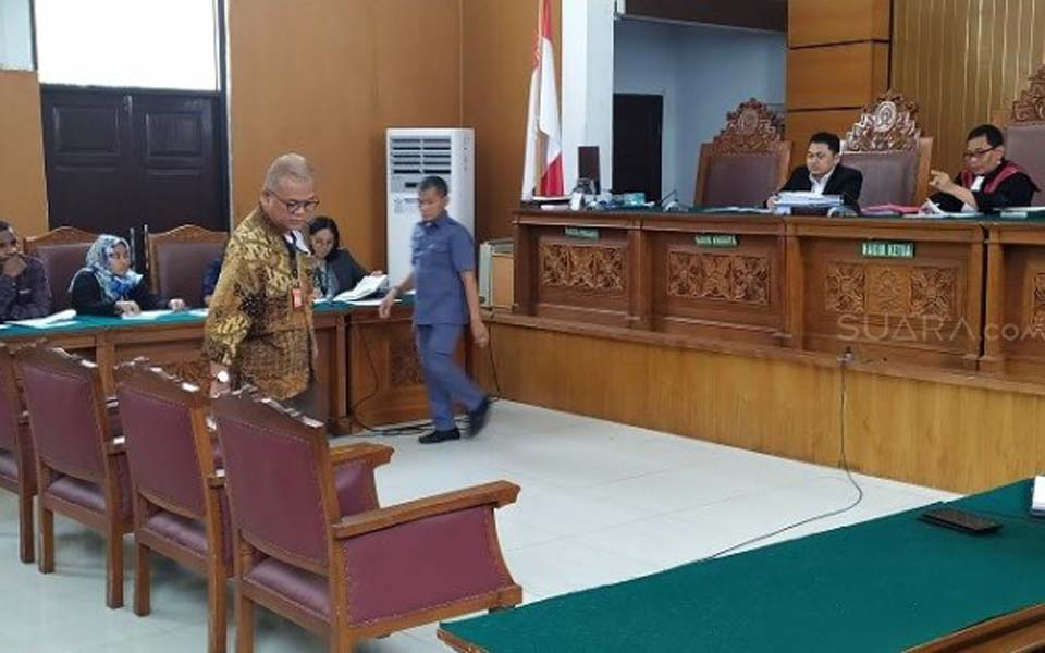 Abdul Fickar Hadjar prepares to give testimony at pretrial hearing – December 4, 2019 (Suara)